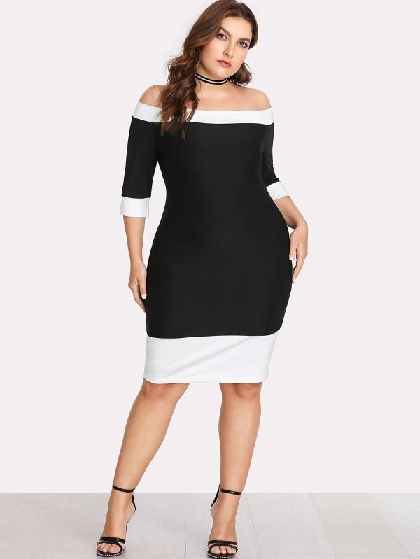 Vestido negro corto talla grande