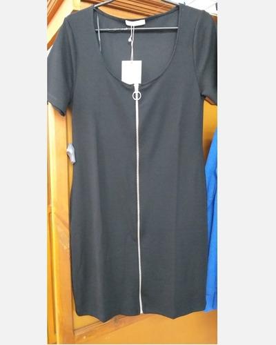 vestido negro corto zara con cierre frontal nuevo bershka h&