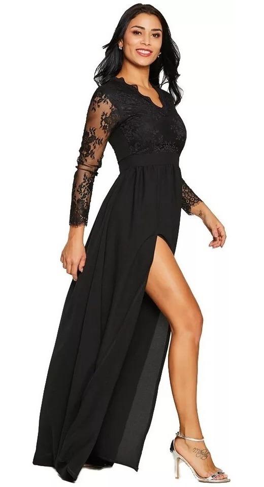 Vestido Negro Dama Encaje Largo Manga Larga Sexy