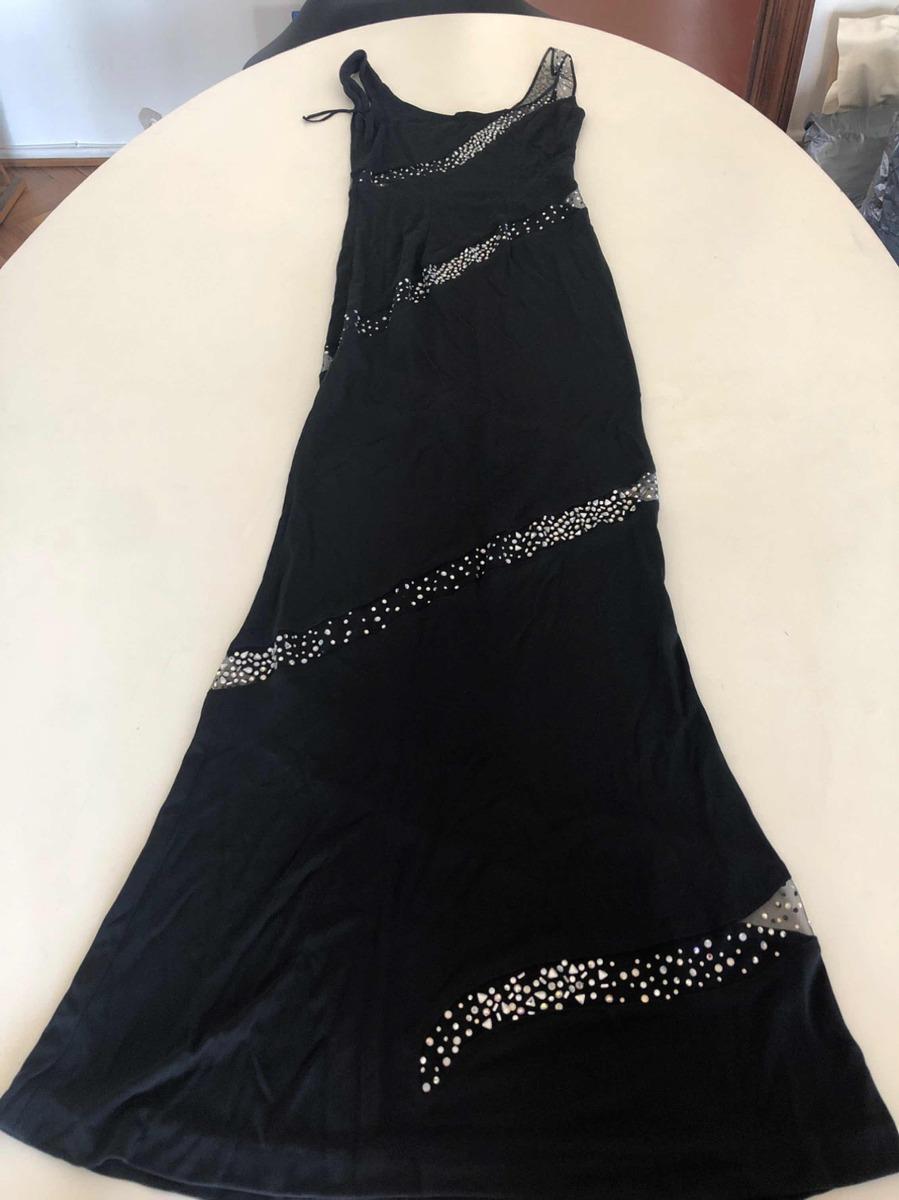de2b75c289 Vestido Negro De Fiesta Elegante C Brillos Transparencia Imp ...