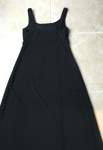 vestido negro de fiesta largo con canutillos - diseño usa