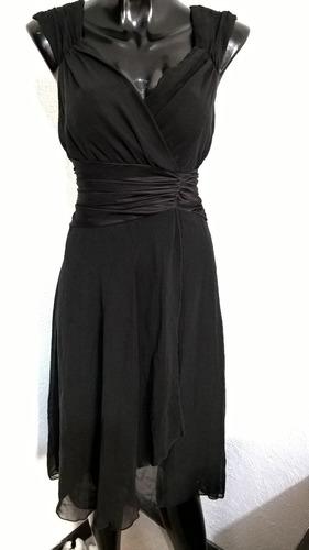 vestido negro de gasa talla 7 studio conection