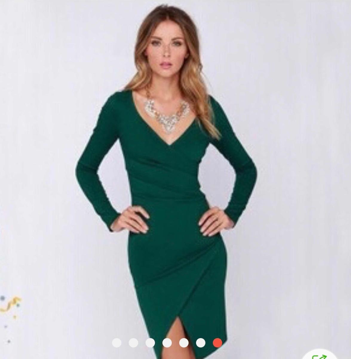 f3d435368c Vestido Negro De Licra Cuello V -   385.00 en Mercado Libre