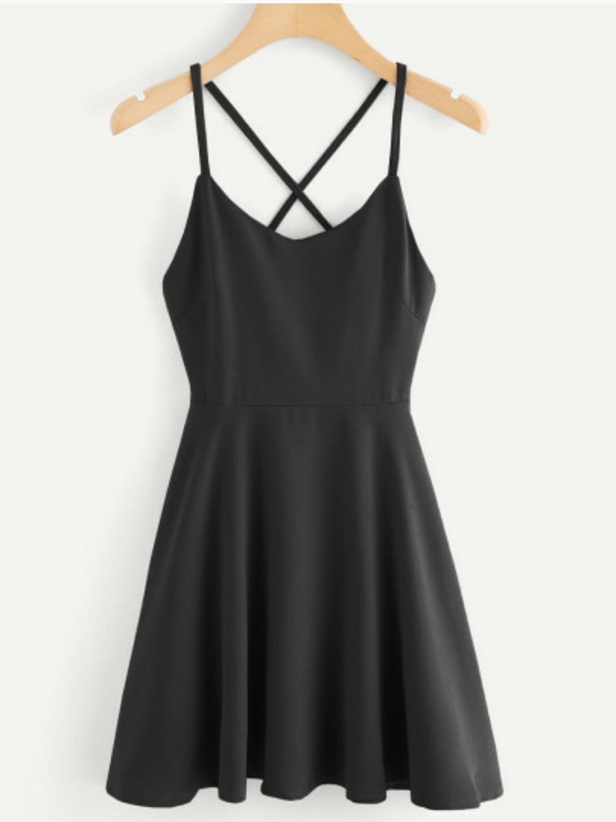 0eea28a10 Vestido Negro De Vuelo Tirantes -   350.00 en Mercado Libre