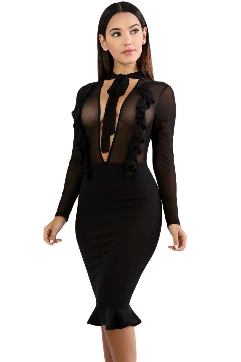 25fb4e8bf vestido negro elegante sexy transparencias con holanes 61763. Cargando zoom.