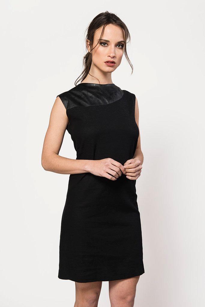 0c40ca5e3d vestido negro elegante sport con detalles en cuero giacca. Cargando zoom.