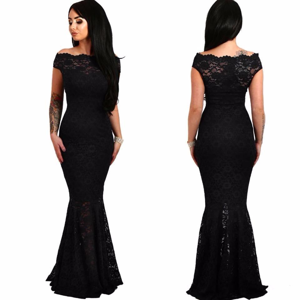 Vestido negro largo fiesta mercadolibre