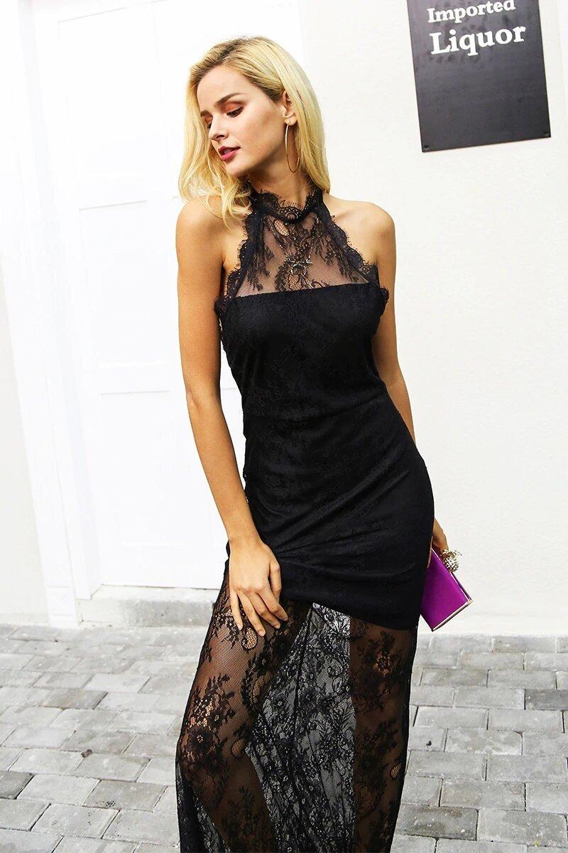 Vestido Negro Encaje Largo Con Transparencia