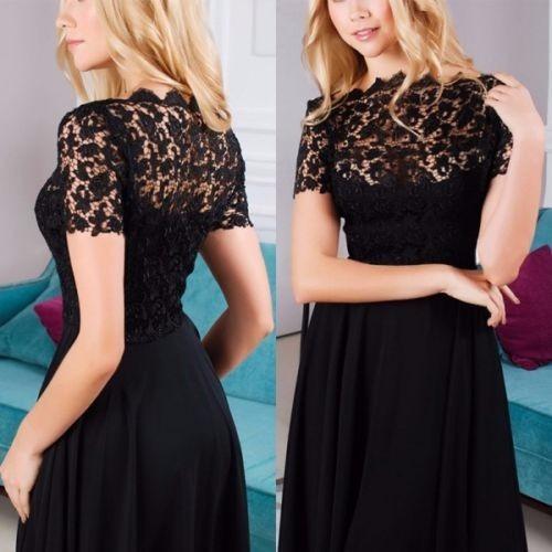 vestido negro encaje largo elegante fiesta cocktail polyeste