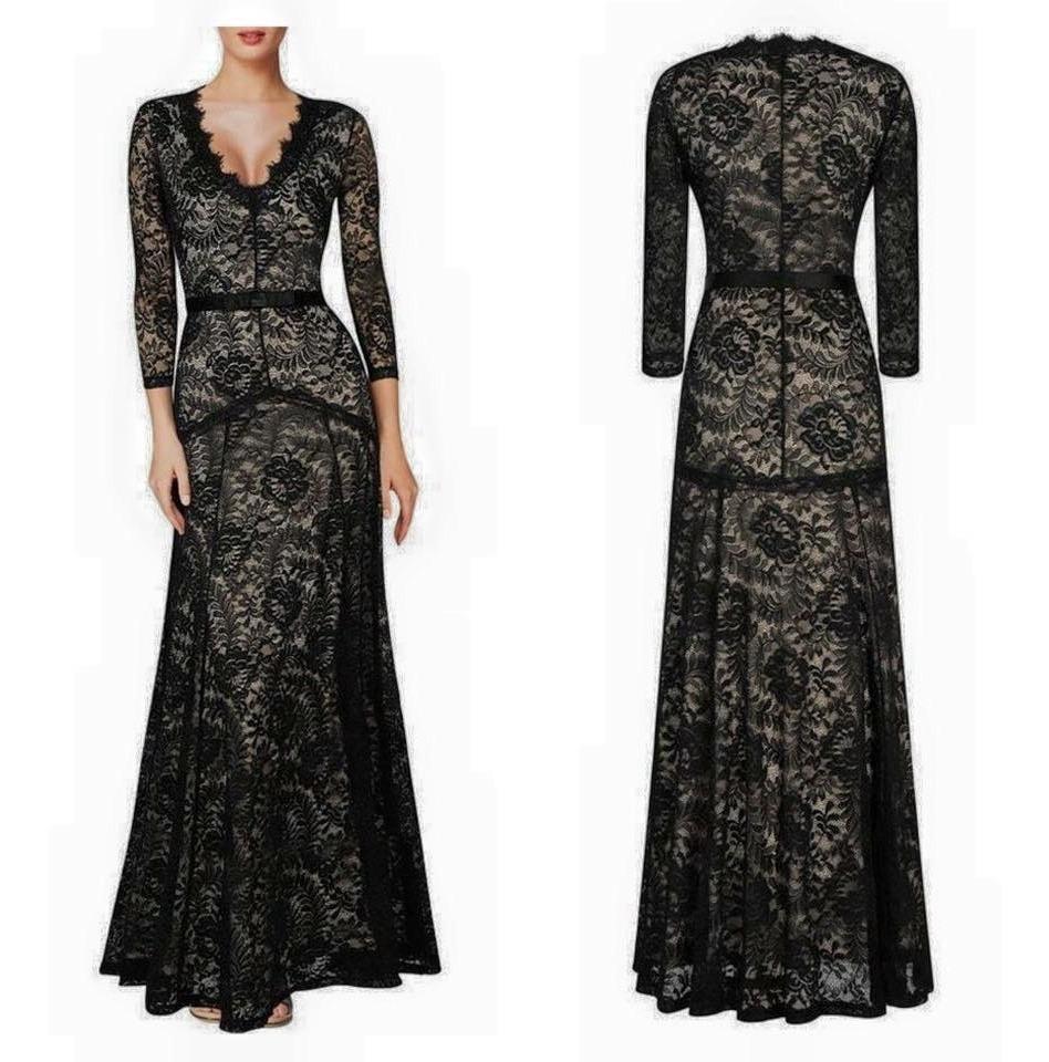 Vestido Negro Encaje Largo Noche Boda Fiesta Coctel Mujer