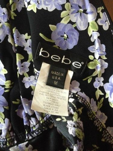 vestido negro estampado flores lilas marca bebe t/m38