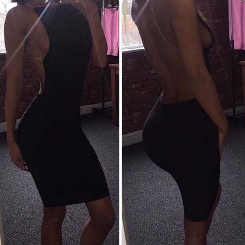 vestido negro fashion escote espalda delicada bandage bodyc