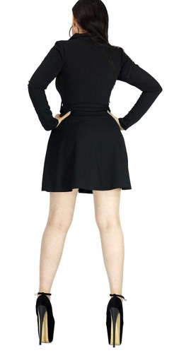vestido negro fiesta tipo gabardina con cierre frente va04