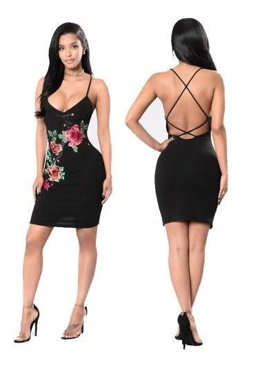 Vestido Negro Flores Bordadas Talla M Nuevo Importado Stock