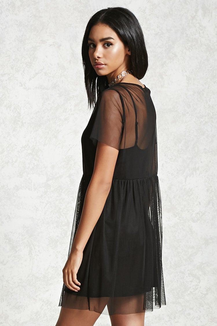 f7f287f58 Vestido Negro Forever 21 Transparente Combo En Stock!! -   700