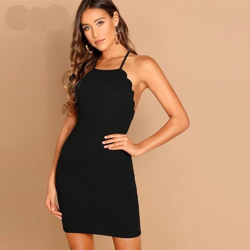 Vestido Negro Formal Espalda Descubierta Fiesta Noche Mujer