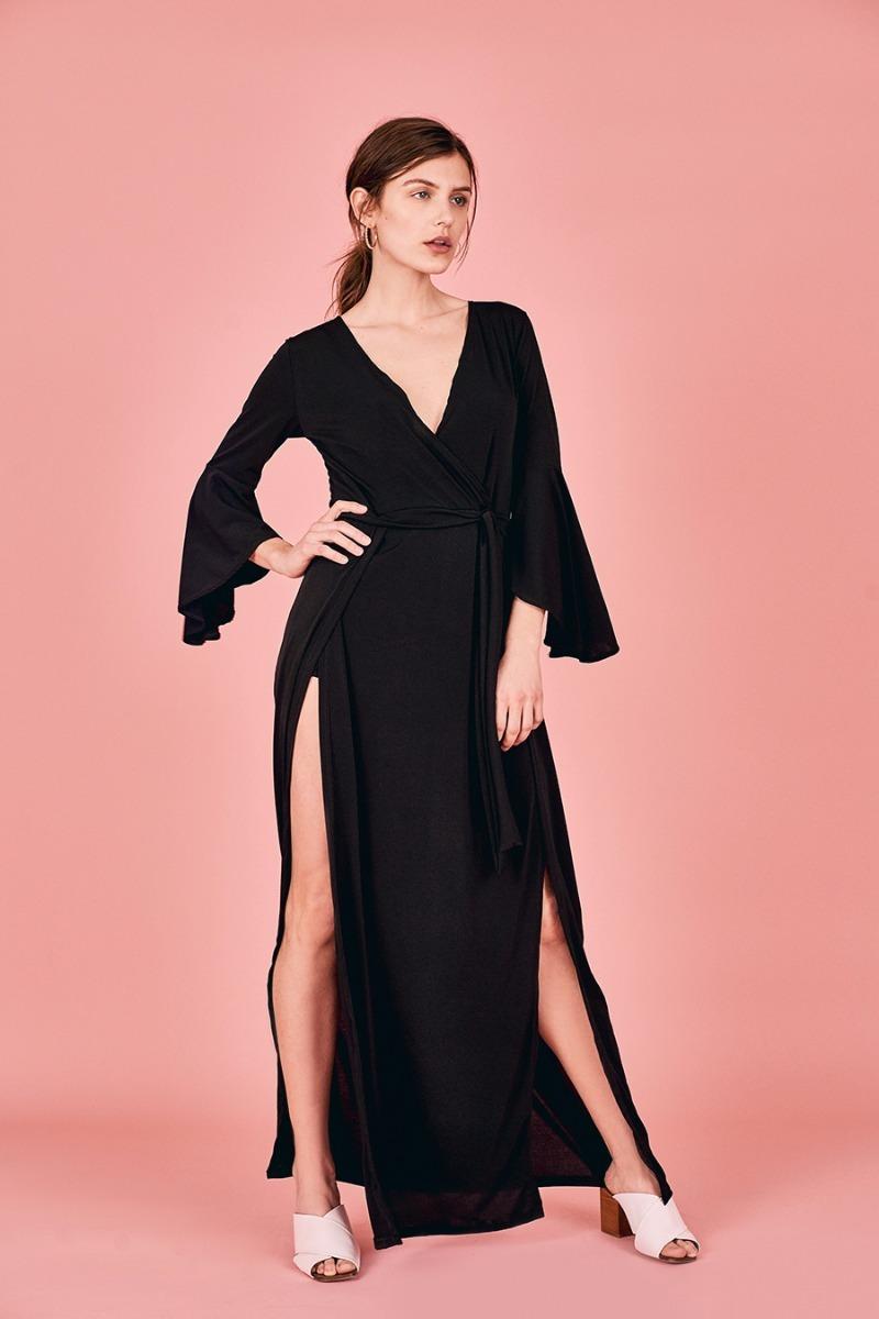 Vestido Negro Largo Con Tajo Escote T:m Fiesta Casamiento - $ 1.680 ...