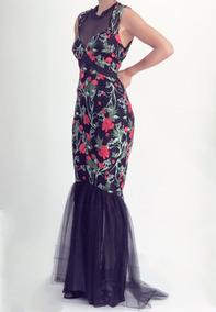 823774831 Vestido Negro Largo Flores Bordadas Red Carpet Gdl