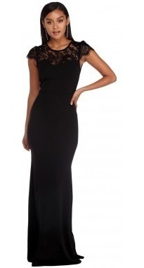 Vestido Negro Largo Noche Casual Elegante Sexy Escote