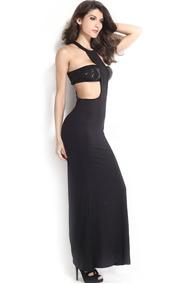 492df2019195 Vestido Negro Largo Sexy Descubierto Fiesta Elegante 6439