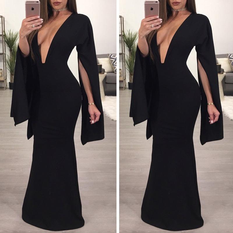 Vestido Negro Largo Sexy Escote Elegante Formal Cóctel Grado