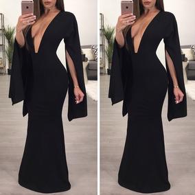 compre los más vendidos última selección compra especial Vestido Negro Largo Sexy Escote Elegante Formal Cóctel Grado