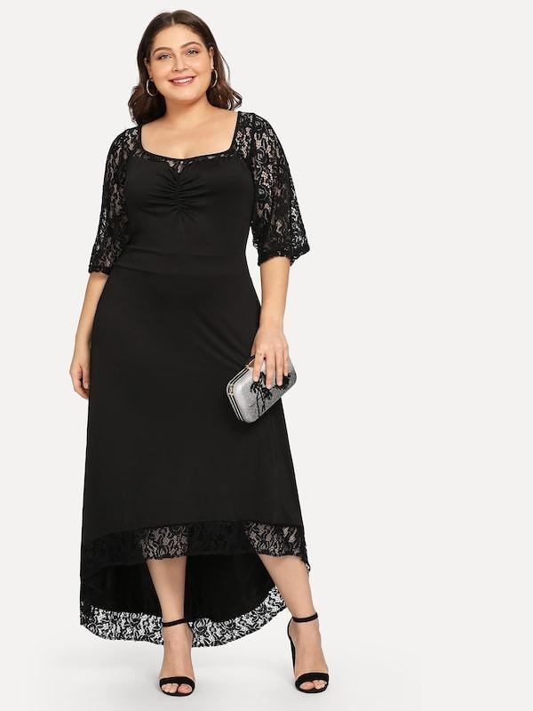 Vestido negro largo talla grande