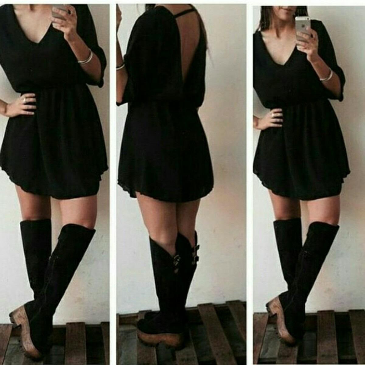 788697765 vestido negro manga 3 4. Cargando zoom.