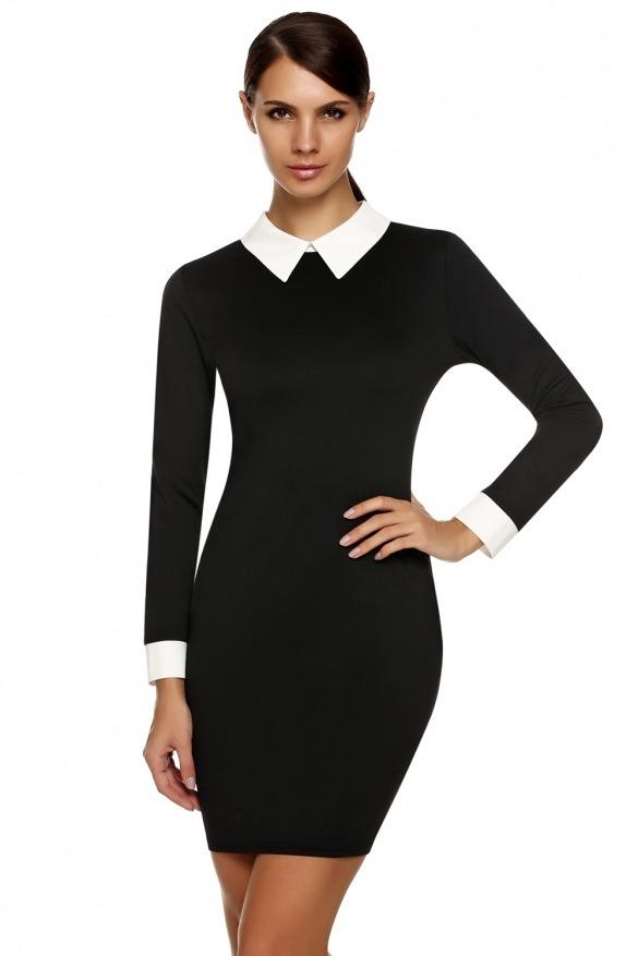94a25e19f984 Vestido Negro Manga Larga Con Cuello Blanco