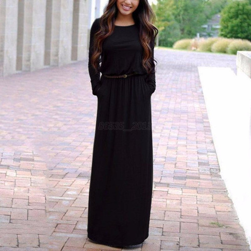 vestido negro manga larga formal fiesta cocktail prom mujer