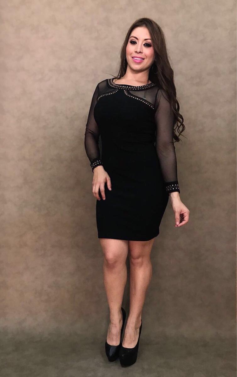 205934e58 vestido negro manga transparente unitalla ropa dama nacional. Cargando zoom.