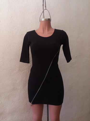 vestido negro moda sexy con cierre al frente