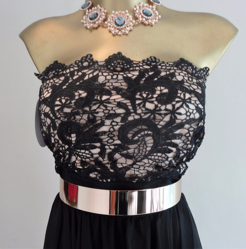 vestido negro o blanco largo strapless bordado cristal