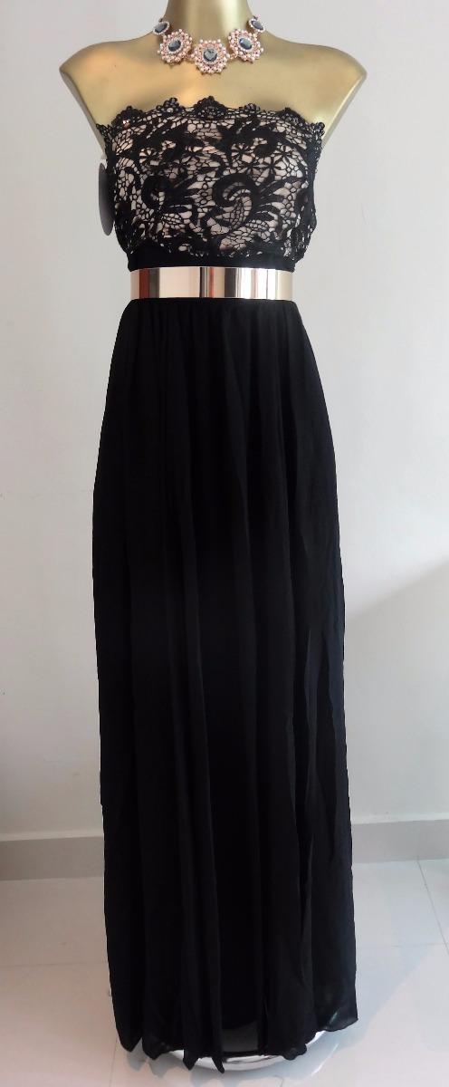 Vestidos negro con blanco largos