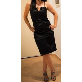 Vestido Negro Raspado Color Negro Drapeado Al Frente