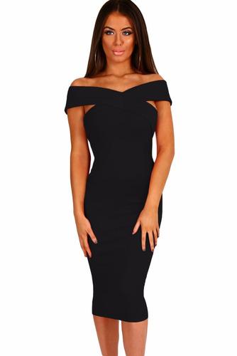 vestido negro sexy strapless cruzado al frente moda antro