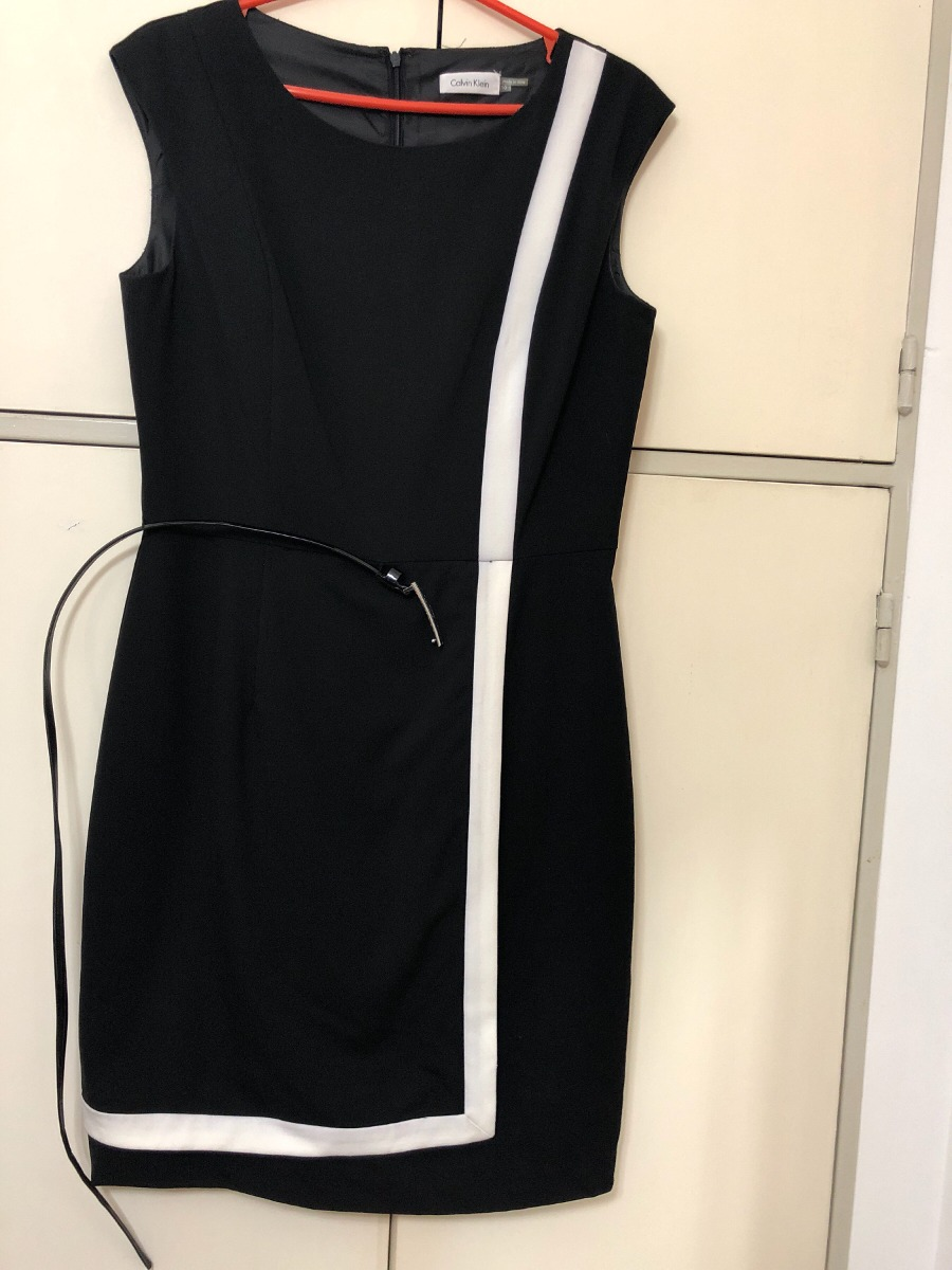 Vestido blanco y negro calvin klein