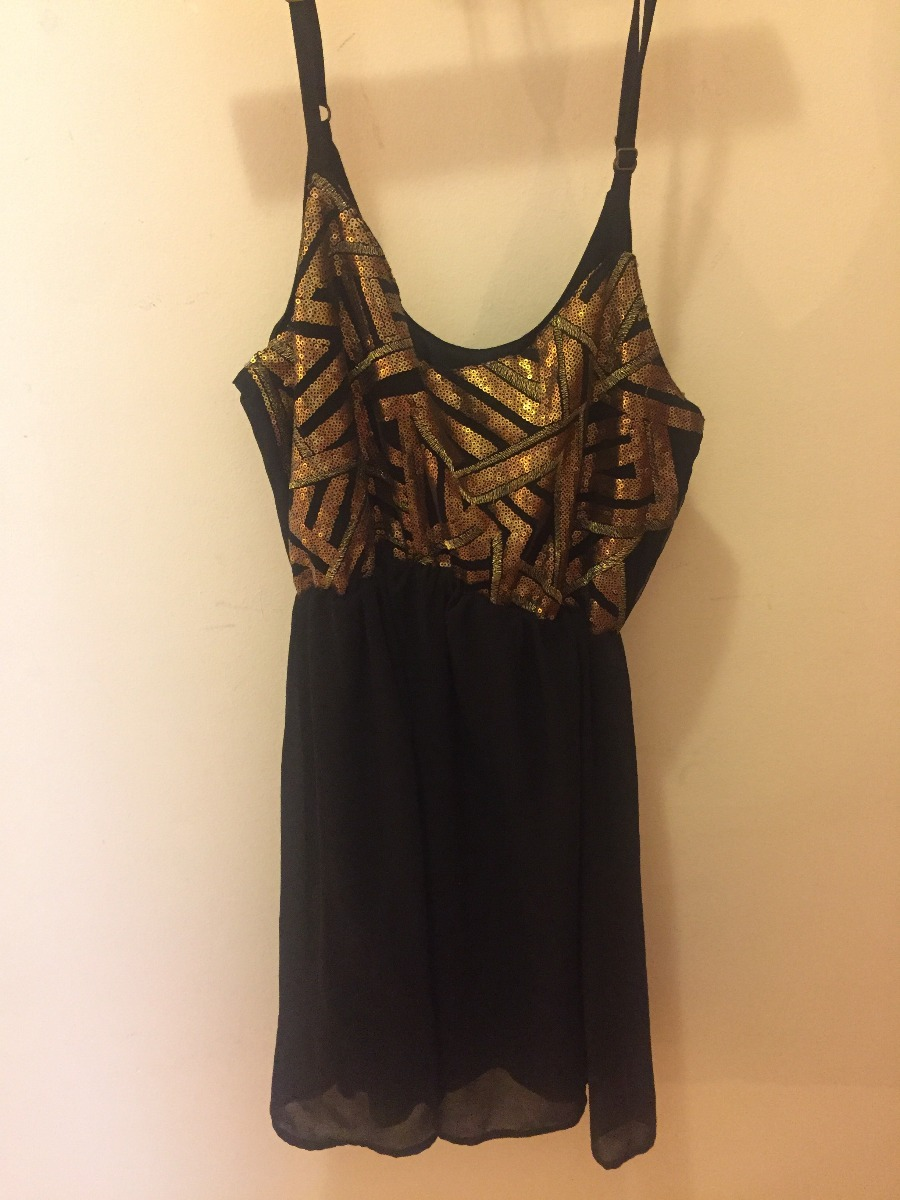 a88e945df vestido negro y dorado rimmel nuevo. talle l. Cargando zoom.