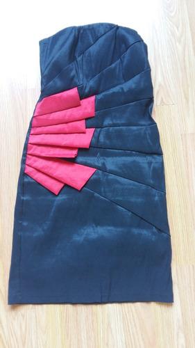 vestido negro y rojo mujer