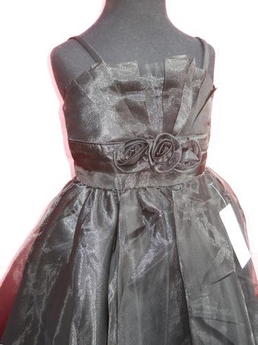 vestido nena fiesta negro tablitas con breteles hasta 8 años