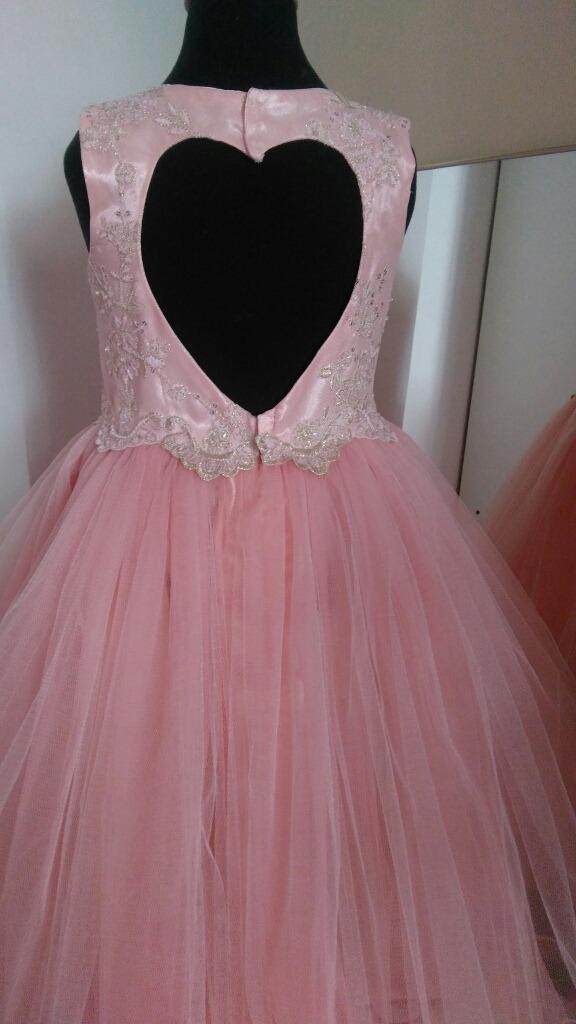 Vestido Nena Fiesta Rosa Tul Boda Noche Verano Tall 7 Al 12 ... c1e747f3a154