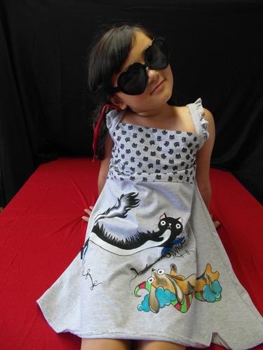 vestido nena niña manga corta estampado pequeña pomponcita
