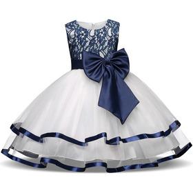 Vestido Niña  Fiesta Cumpleaños/ Tul/ Listón/ Blanco Azul
