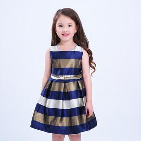 Vestido Niña 3 Años Rayado Metálico Babynova V4