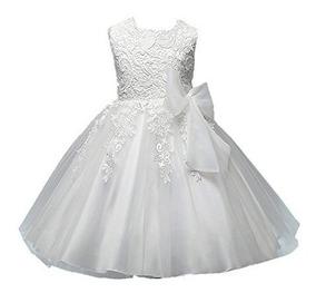 Vestido Niña Bebé Infantil Bautizo Blanco Ropa 6 A 7 6 Años