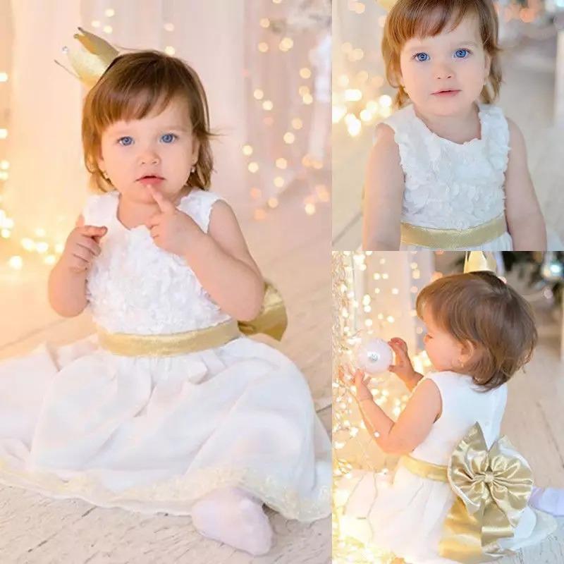 387abe05e83e1 Vestido Niña Blanco Dorado Envio Gratis -   450.00 en Mercado Libre