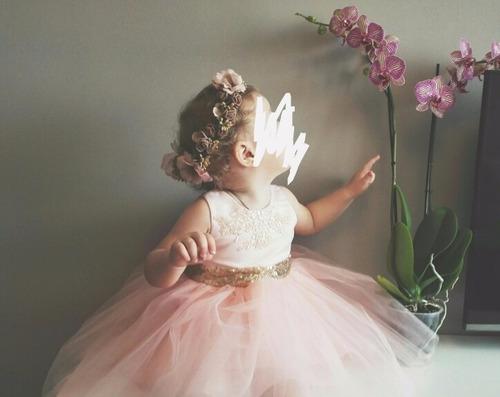 vestido niña coral fiesta elegante princesas con tutú