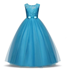 Vestido Niña Fiesta Cumpleaños D Gala Tul Azul Cielo