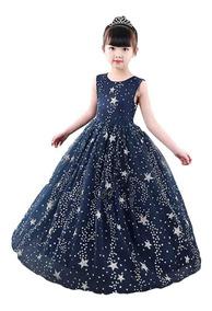 Vestido Niña Fiesta Cumpleaños Tul Diseño Estrellas