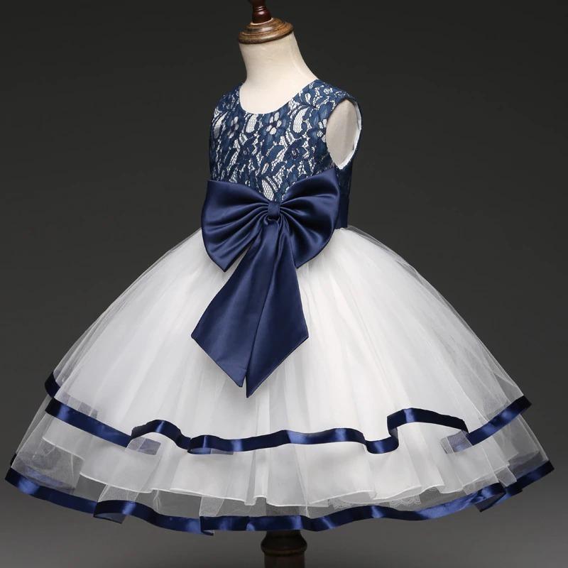 14c463aff7bd Vestido Niña Fiesta Cumpleaños/ Tul/ Listón/ Blanco Azul
